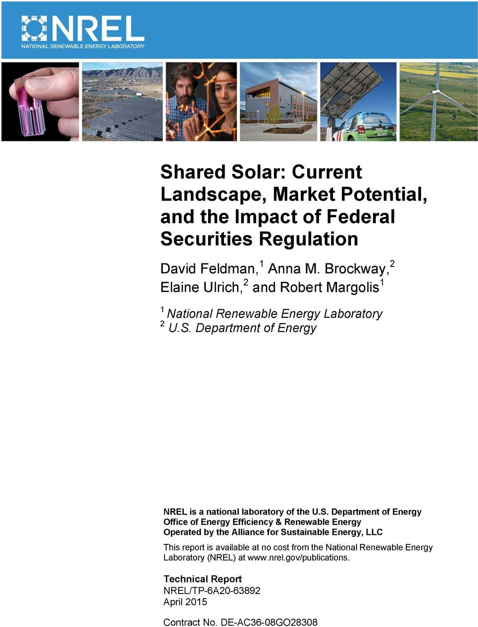 Department of Energy NREL is a national laboratory of the U.S.