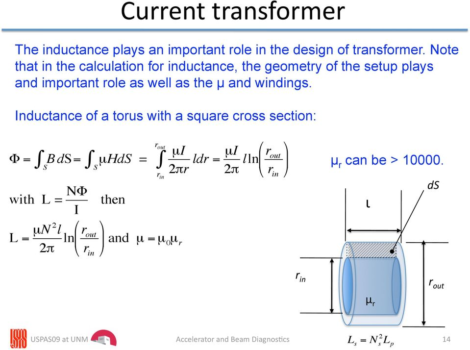Inductance of a torus with a square cross section: Φ = B ds= S µhds = S µi 2πr ldr = µi 2π lln r out r out with L = NΦ then I
