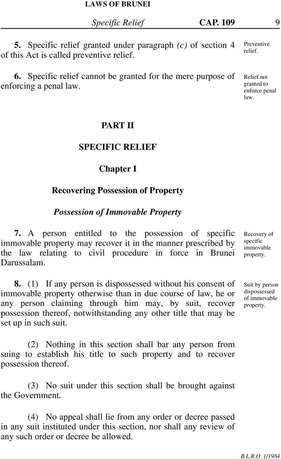 PART II SPECIFIC RELIEF Chapter I Recovering Possession of Property Possession of Immovable Property 7.