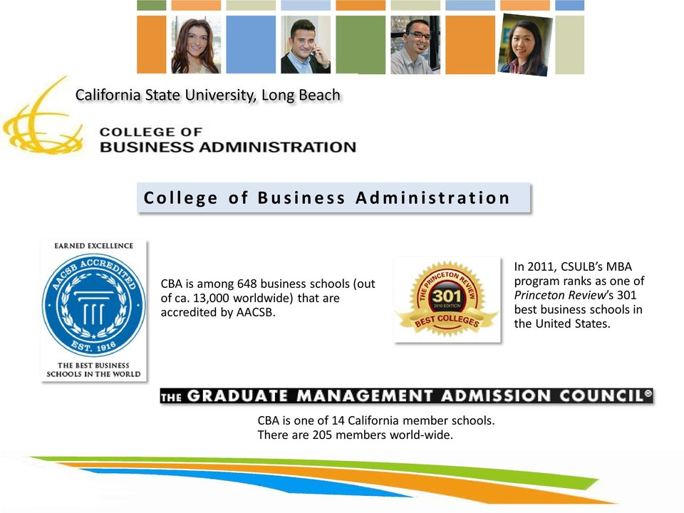 In 2011, CSULB s MBA program ranks as one of Princeton Review s 301 best