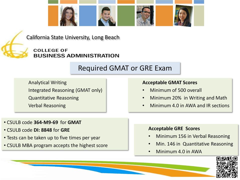 0 in AWA and IR sections CSULB code 364-M9-69 for GMAT CSULB code DI: 8848 for GRE Tests can be taken up to five times