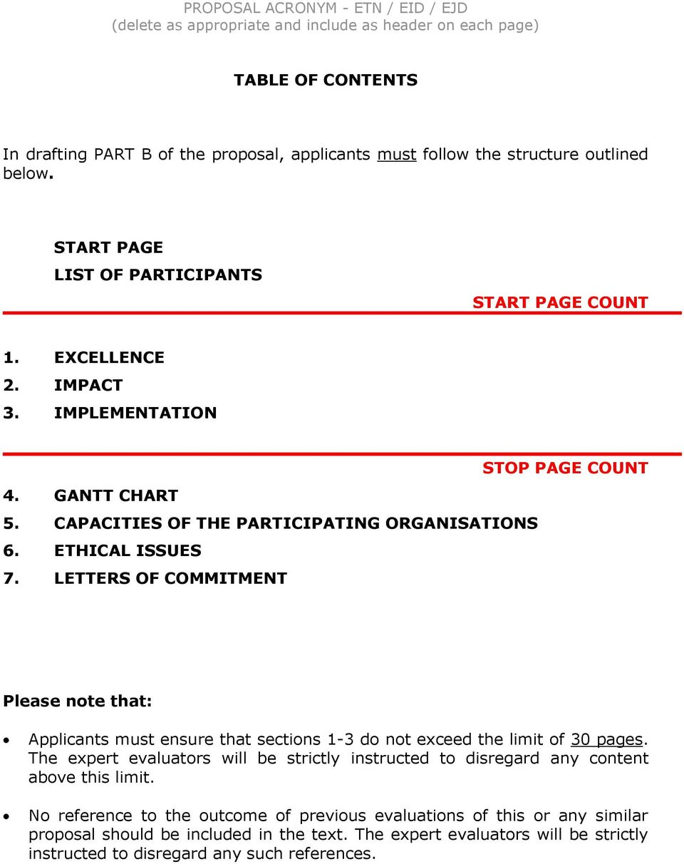 LETTERS OF COMMITMENT Please note that: Applicants must ensure that sections 1-3 do not exceed the limit of 30 pages.