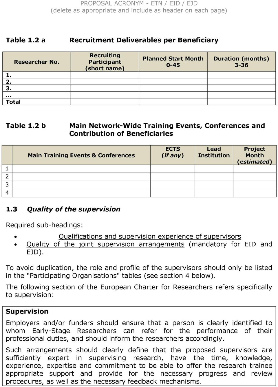3 Quality of the supervision Qualifications and supervision experience of supervisors Quality of the joint supervision arrangements (mandatory for EID and EJD).