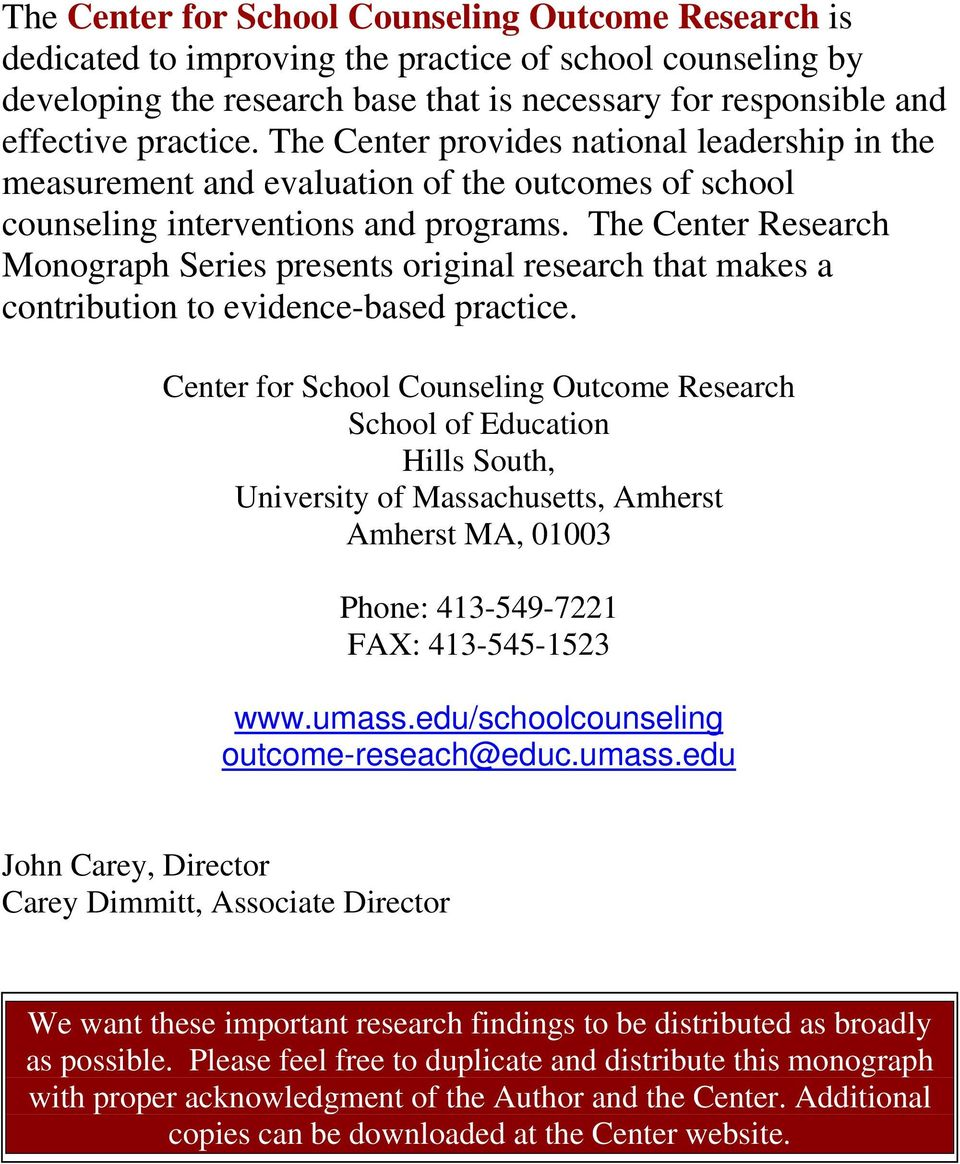 The Center Research Monograph Series presents original research that makes a contribution to evidence-based practice.