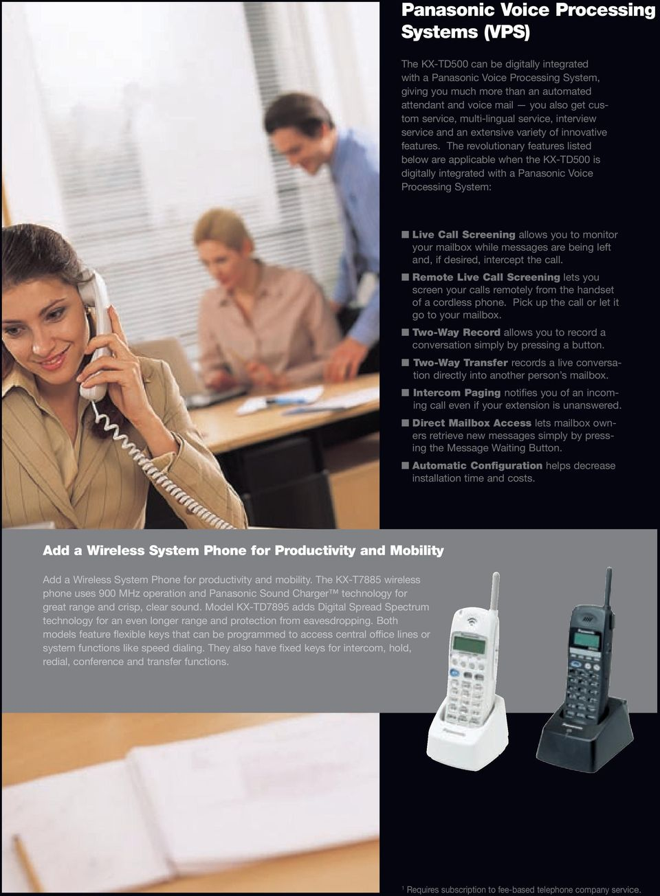 The revolutionary features listed below are applicable when the KX-TD500 is digitally integrated with a Panasonic Voice Processing System: Live Call Screening allows you to monitor your mailbox while