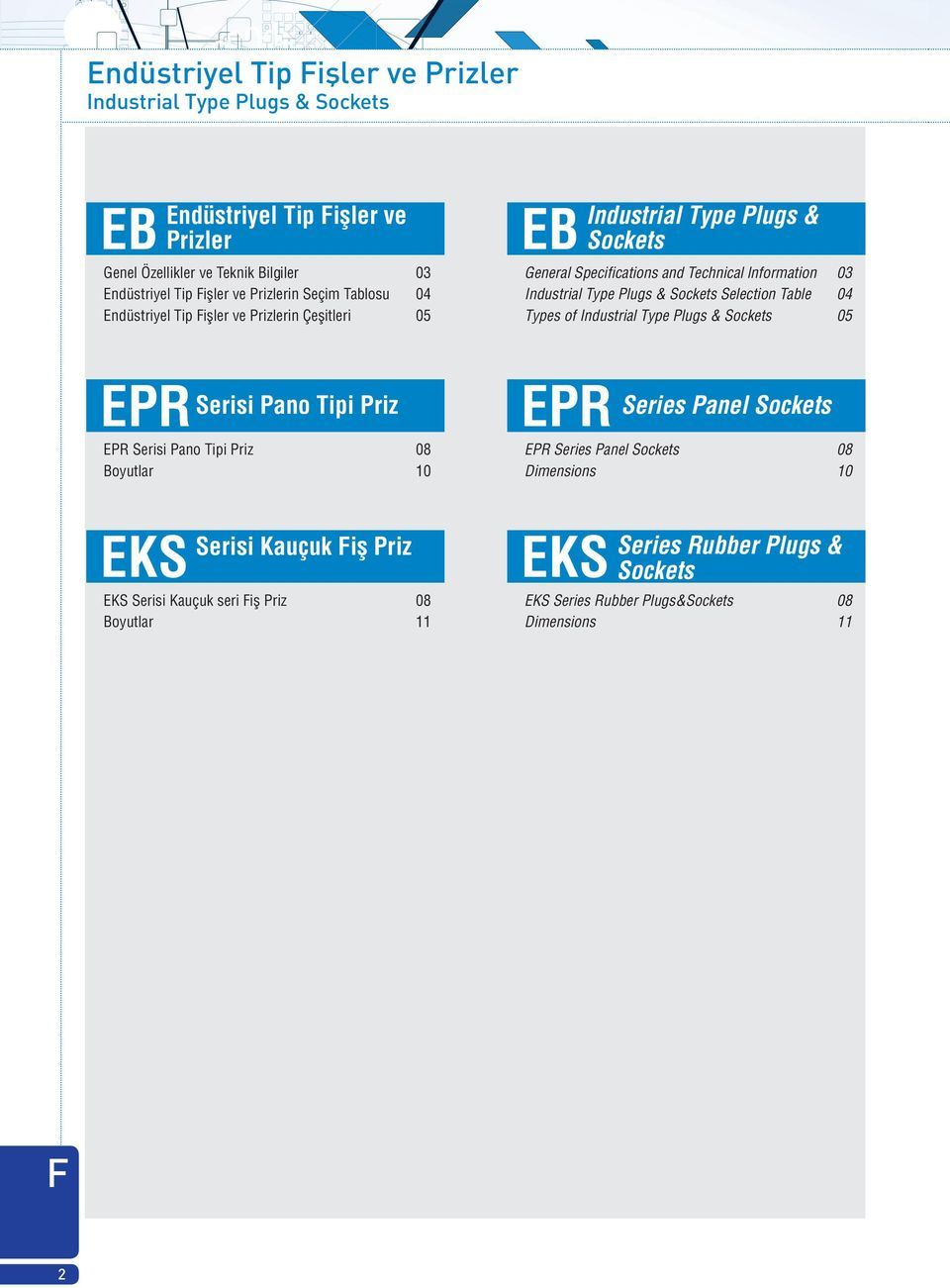 Selection Table 04 s of Industrial Plugs & Sockets 05 EPR Serisi Pano i Priz EPR Serisi Pano i Priz 08 Boyutlar 10 EPR Series Panel Sockets EPR Series Panel Sockets 08