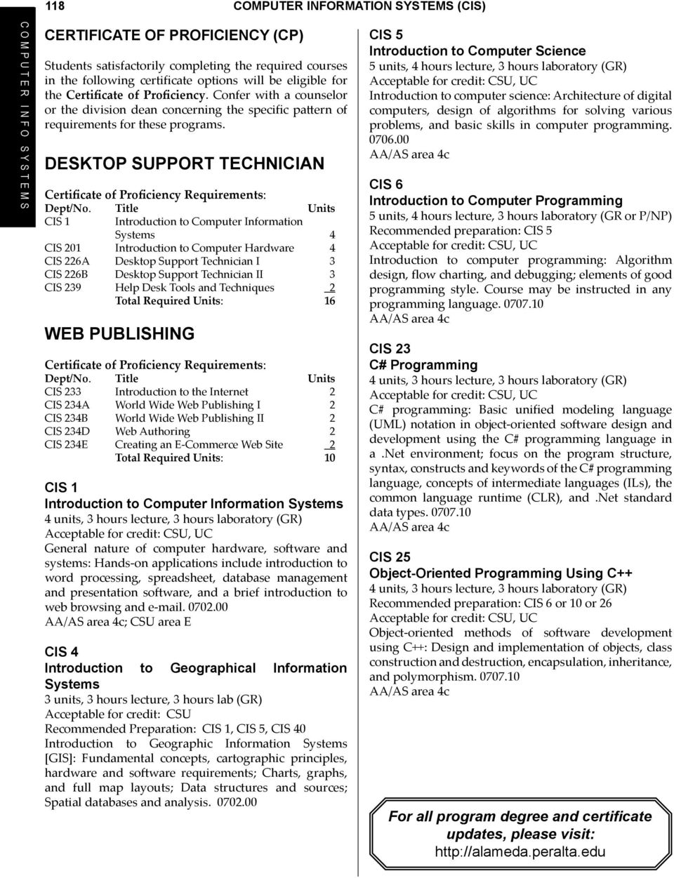 Desktop Suppt Technician Certificate of Proficiency Requirements: CIS 1 Introduction to Computer Infmation 4 CIS 201 Introduction to Computer Hardware 4 CIS 226A Desktop Suppt Technician I 3 CIS 226B
