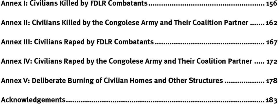 .. 162 Annex III: Civilians Raped by FDLR Combatants.