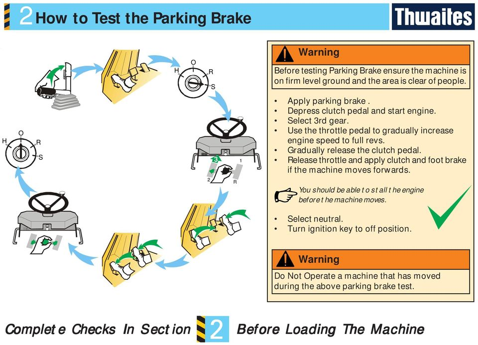 Gradually release the clutch pedal. Release throttle and apply clutch and foot brake if the machine moves forwards.