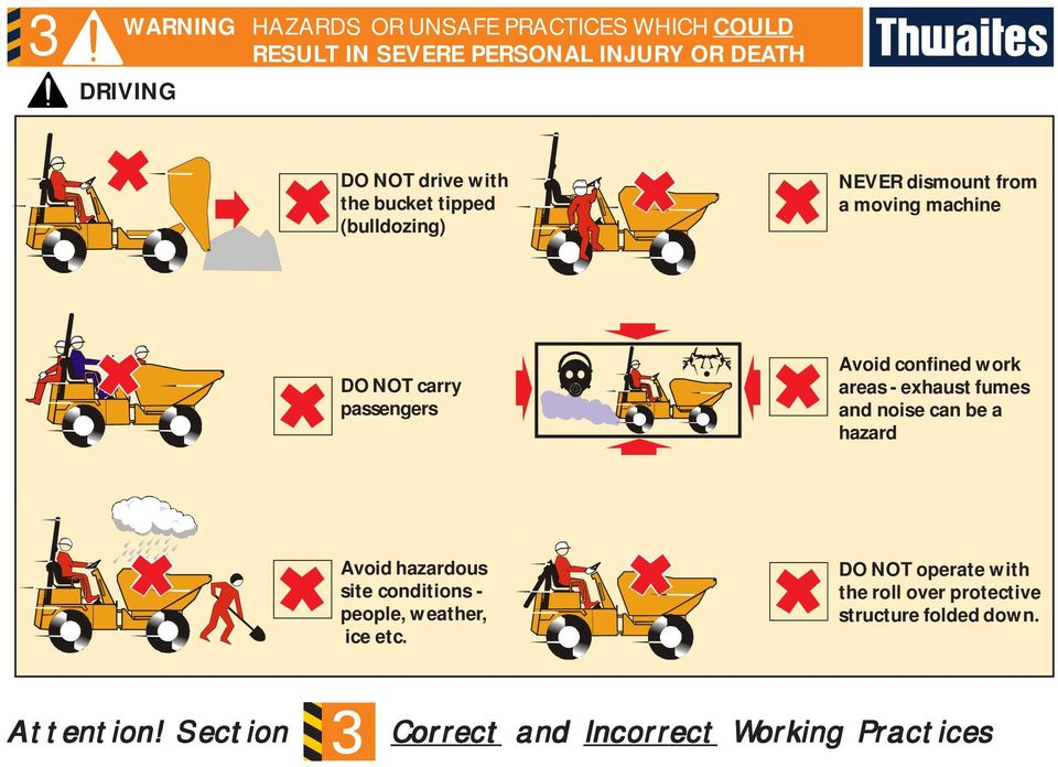 work areas - exhaust fumes and noise can be a hazard Avoid hazardous site conditions - people, weather, ice etc.