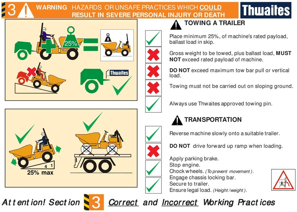 Towing must not be carried out on sloping ground. Always use Thwaites approved towing pin. TRANSPORTATION Reverse machine slowly onto a suitable trailer.