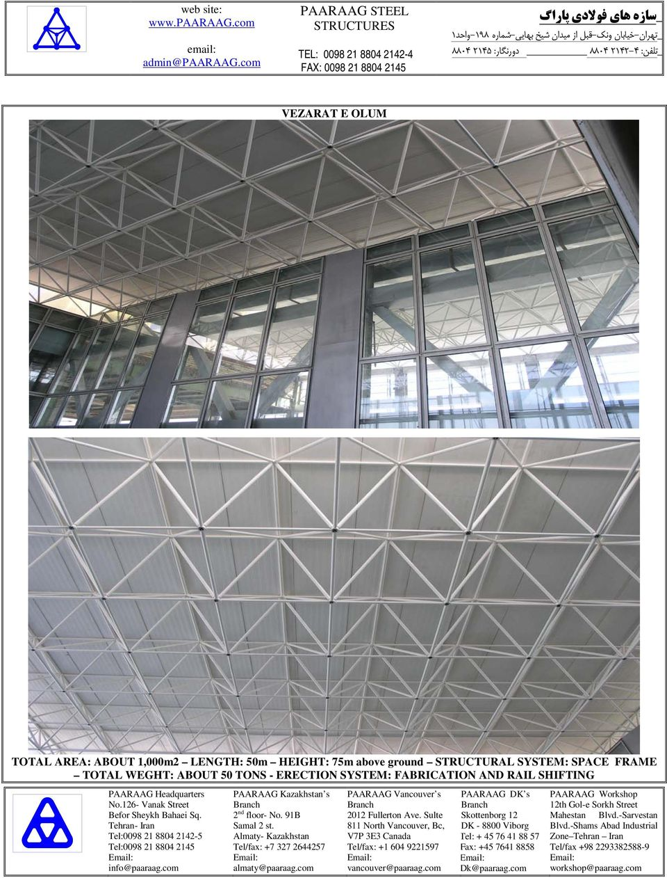 STRUCTURAL SYSTEM: SPACE FRAME TOTAL WEGHT: