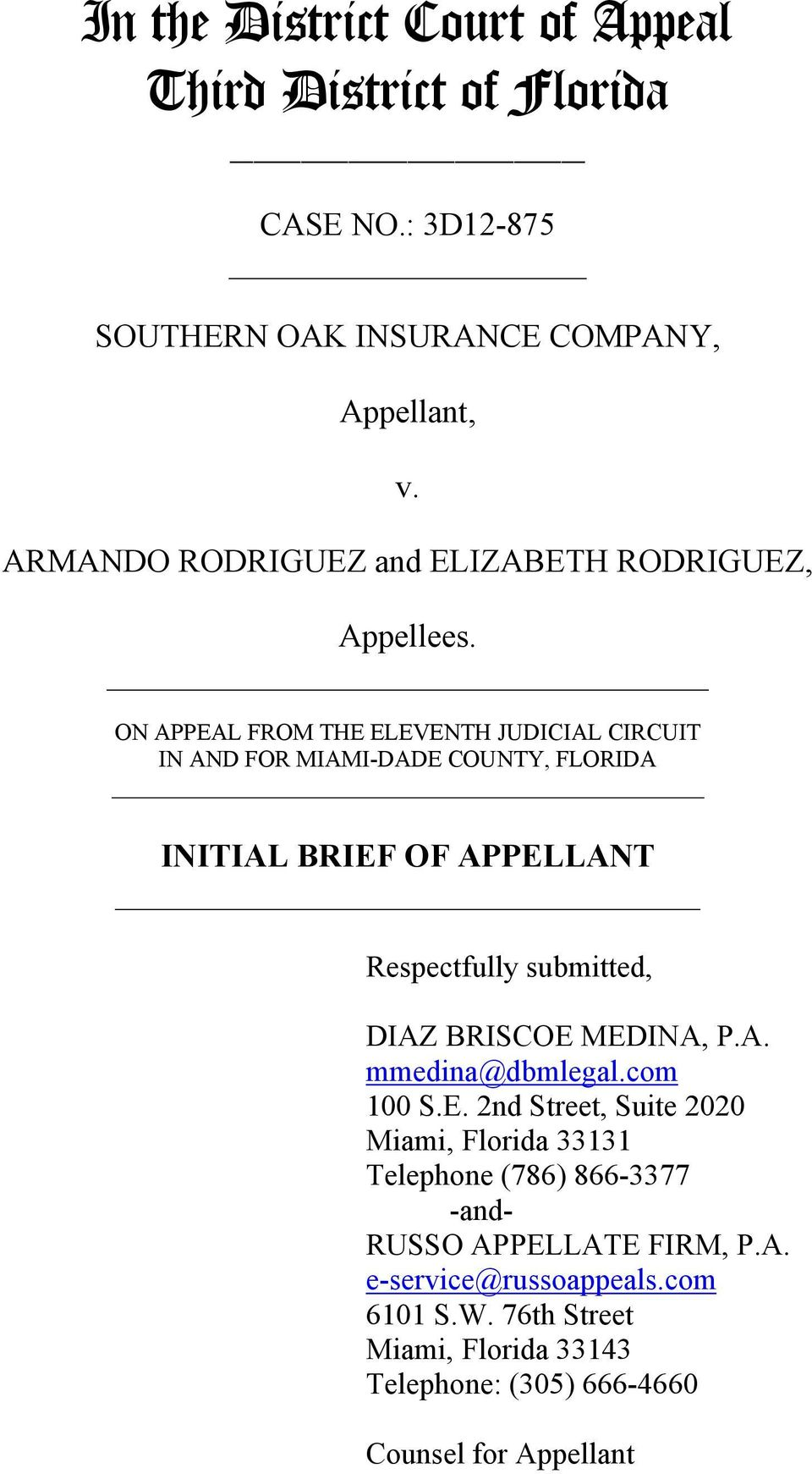 ON APPEAL FROM THE ELEVENTH JUDICIAL CIRCUIT IN AND FOR MIAMI-DADE COUNTY, FLORIDA INITIAL BRIEF OF APPELLANT Respectfully submitted, DIAZ BRISCOE