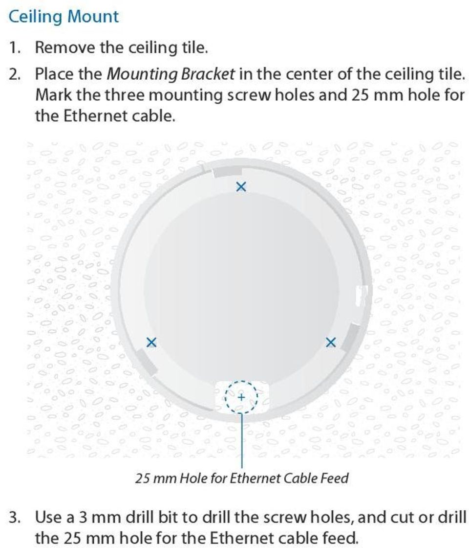 Mark the three mounting screw holes and 25 mm hole for the Ethernet cable.