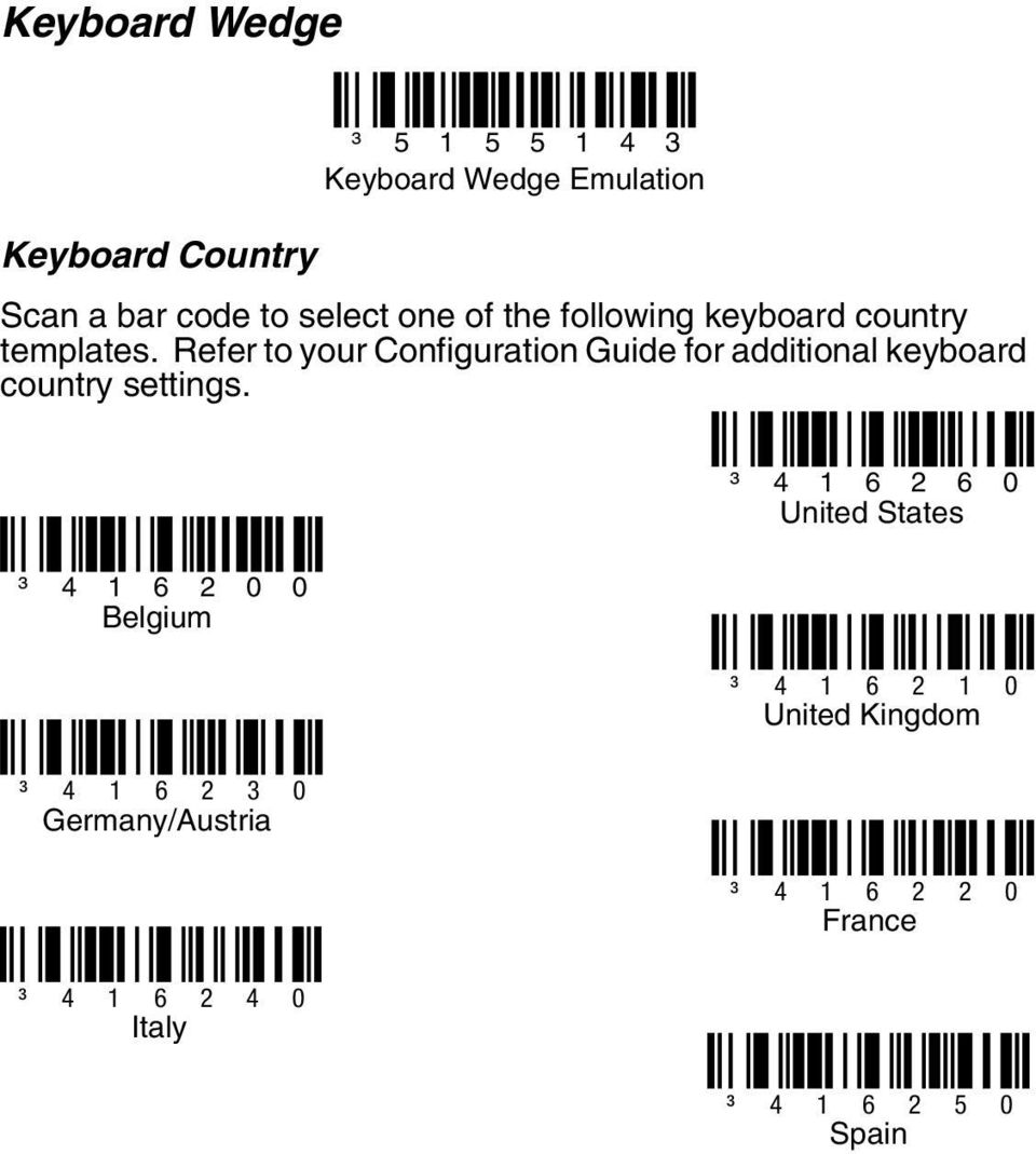 Refer to your Configuration Guide for additional keyboard country settings.