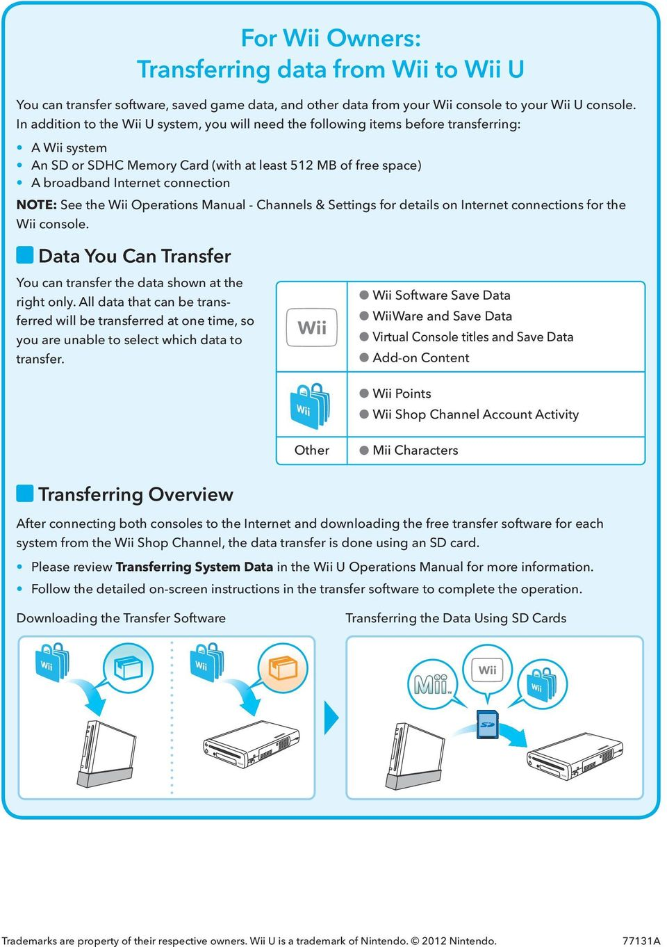 NOTE: See the Wii Operations Manual - Channels & Settings for details on Internet connections for the Wii console. Data You Can Transfer You can transfer the data shown at the right only.