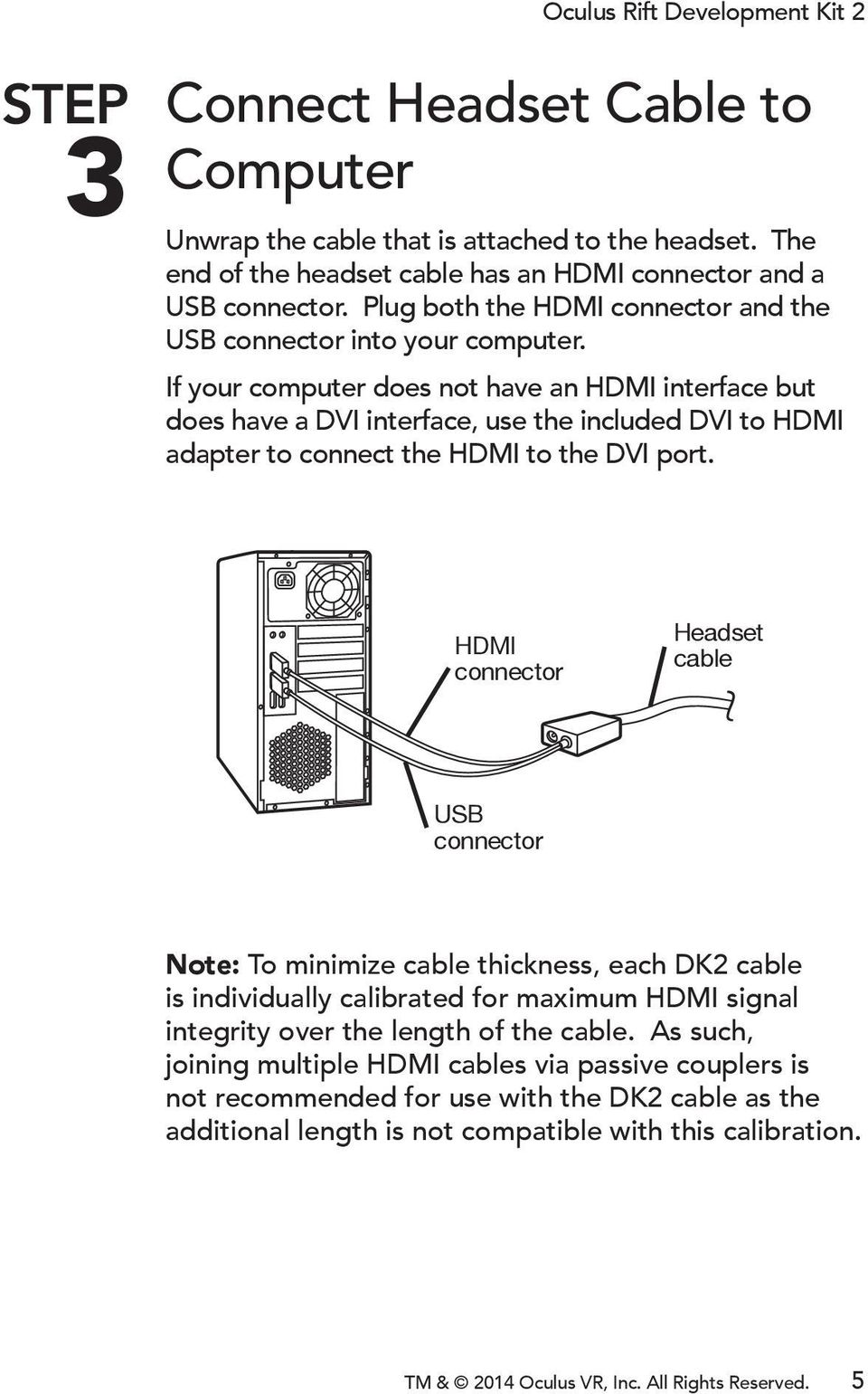 If your computer does not have an HDMI interface but does have a DVI interface, use the included DVI to HDMI adapter to connect the HDMI to the DVI port.