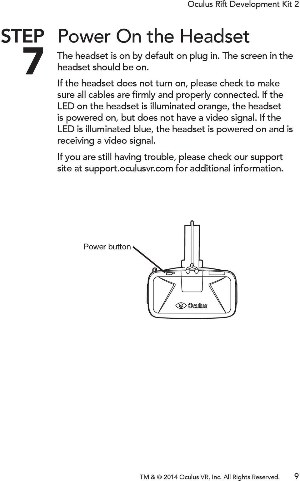 If the LED on the headset is illuminated orange, the headset is powered on, but does not have a video signal.