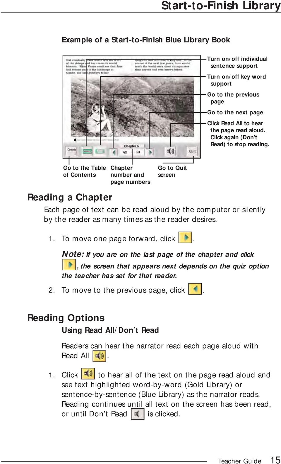 Go to the Table of Contents Chapter number and page numbers Go to Quit screen Reading a Chapter Each page of text can be read aloud by the computer or silently by the reader as many times as the