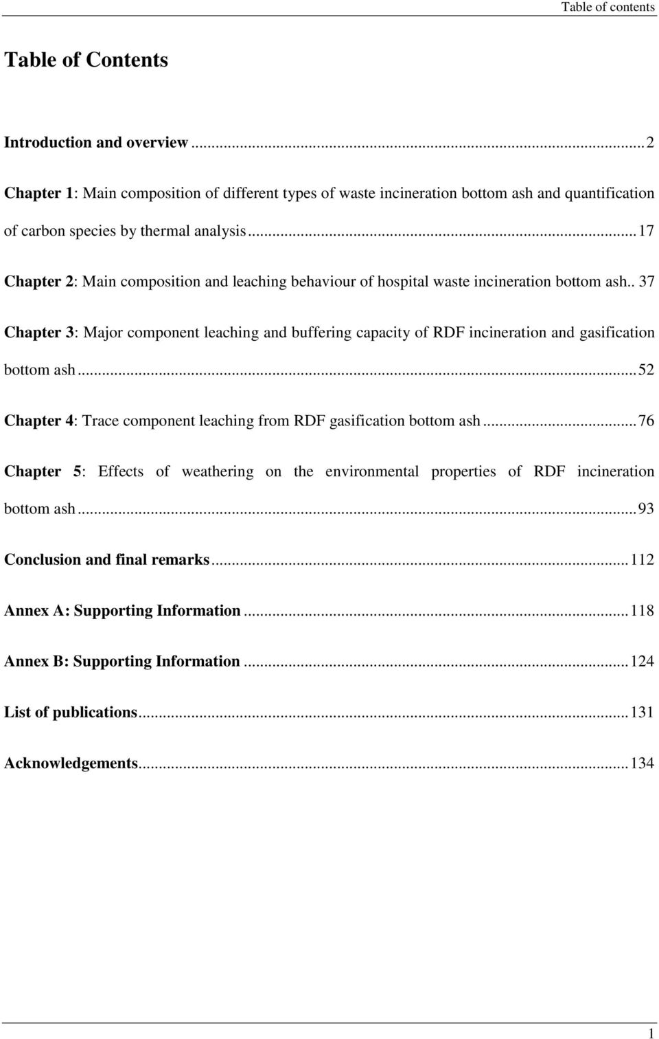 .. 17 Chapter 2: Main composition and leaching behaviour of hospital waste incineration bottom ash.