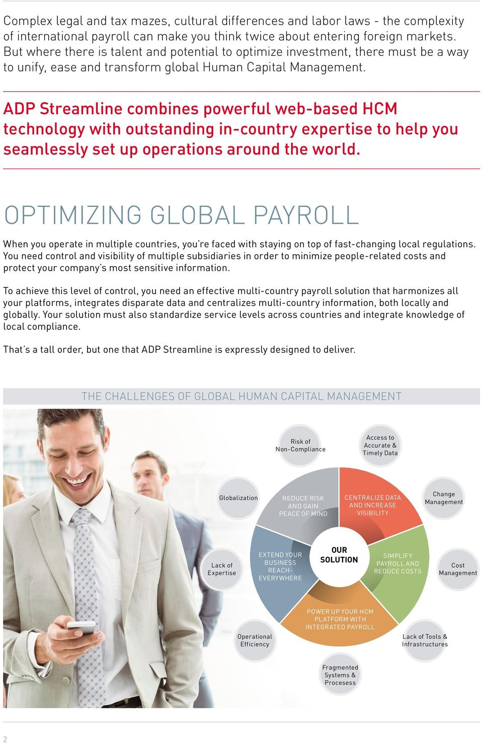 ADP Streamline combines powerful web-based HCM technology with outstanding in-country expertise to help you seamlessly set up operations around the world.