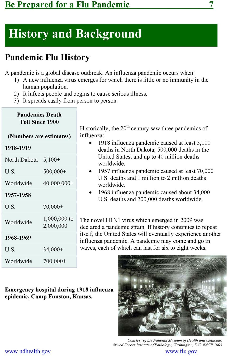 3) It spreads easily from person to person. Pandemics Death Toll Since 1900 (Numbers are estimates) 1918-1919 North Dakota 5,100+ U.S. 500,000+ Worldwide 40,000,000+ 1957-1958 U.S. 70,000+ Worldwide 1968-1969 1,000,000 to 2,000,000 U.