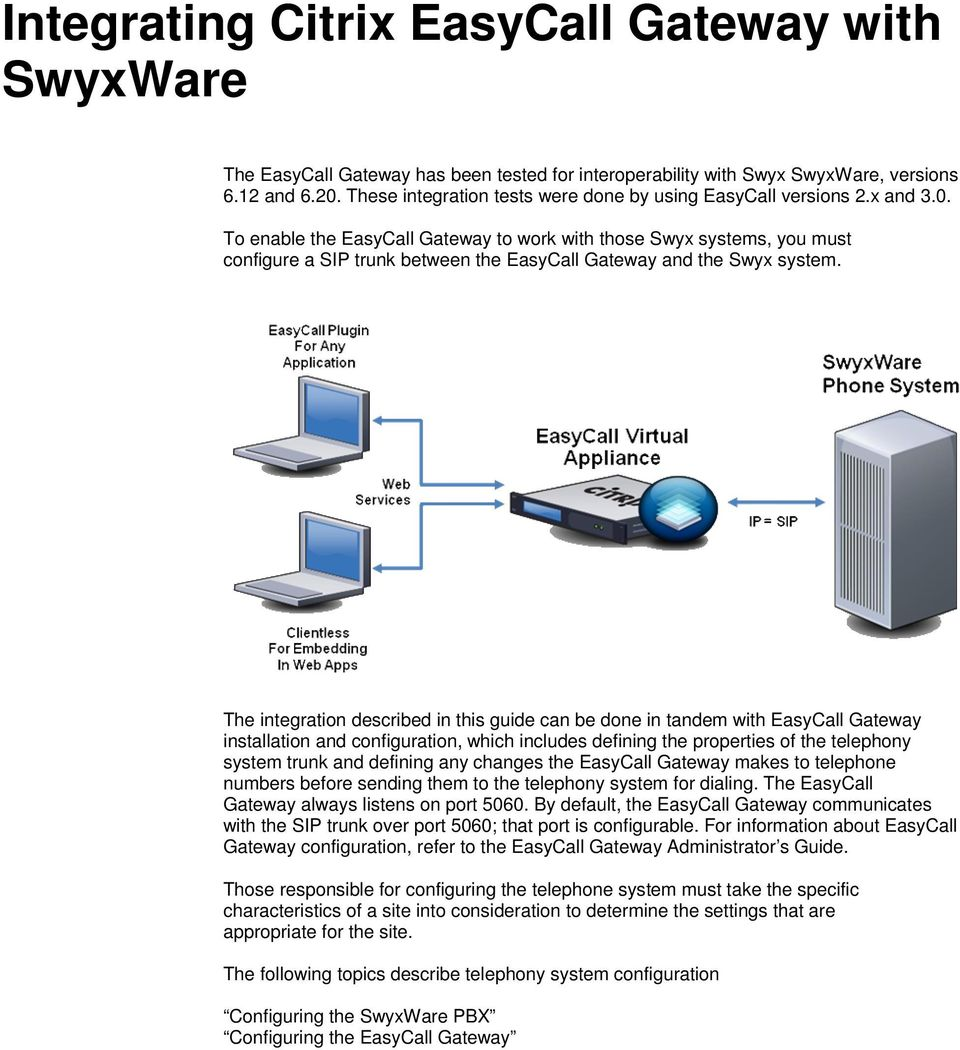To enable the EasyCall Gateway to work with those Swyx systems, you must configure a SIP trunk between the EasyCall Gateway and the Swyx system.