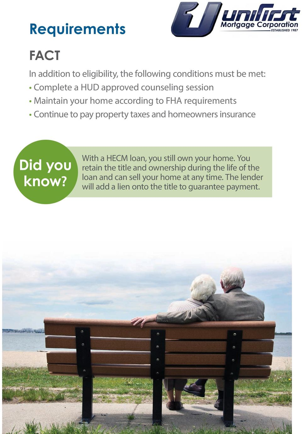 homeowners insurance Did you With a HECM loan, you still own your home.