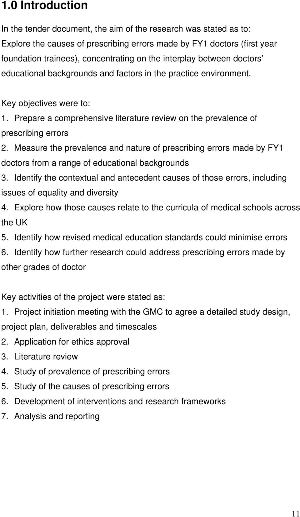 Prepare a comprehensive literature review on the prevalence of prescribing errors 2.