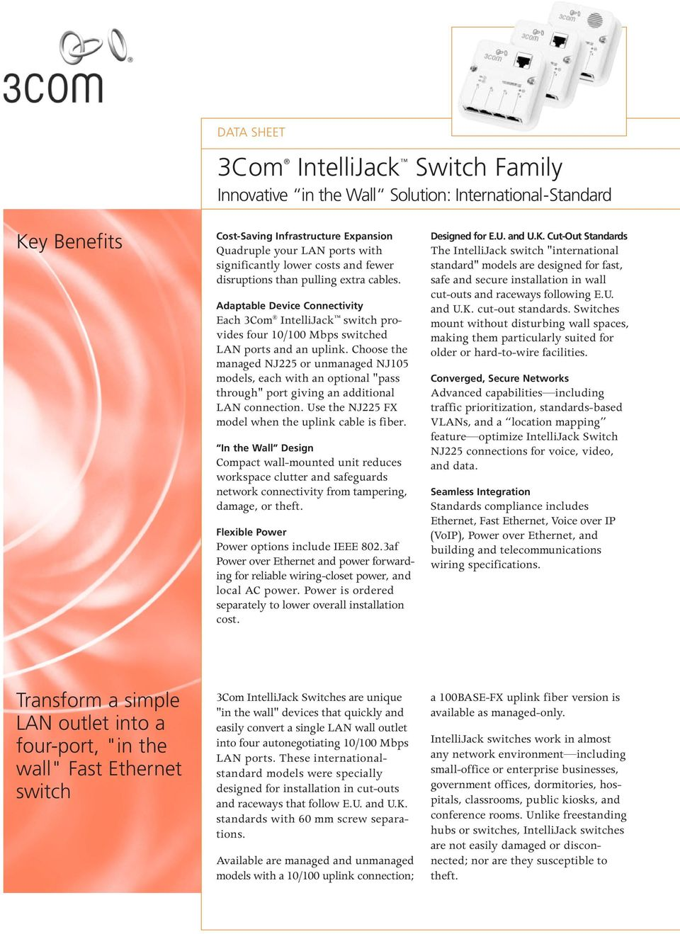 3Com IntelliJack Switch Family Innovative in the Wall