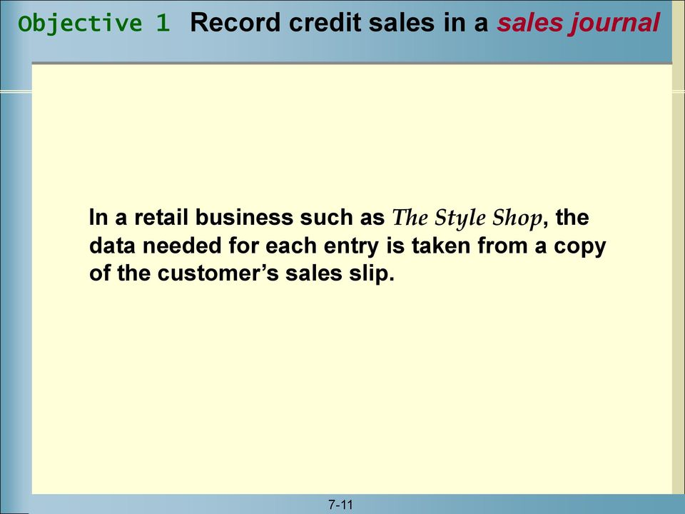 Style Shop, the data needed for each entry is