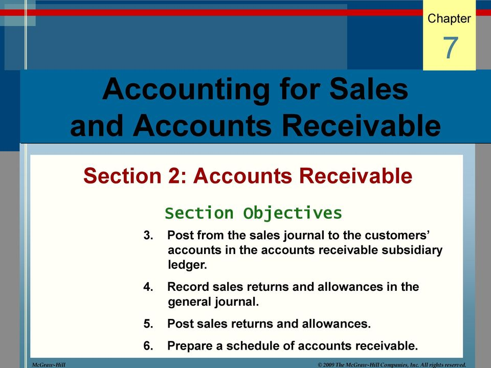 3. Post from the sales journal to the customers accounts in the accounts receivable subsidiary ledger. 4.