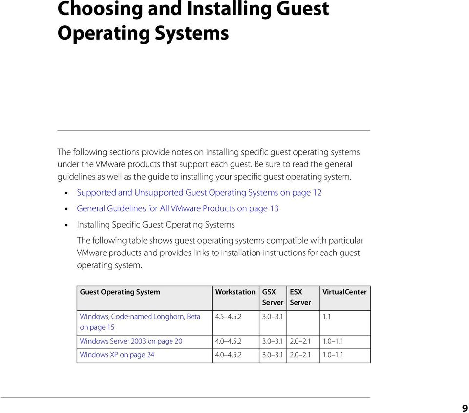 Supported and Unsupported Guest Operating Systems on page 12 General Guidelines for All VMware Products on page 13 Installing Specific Guest Operating Systems The following table shows guest