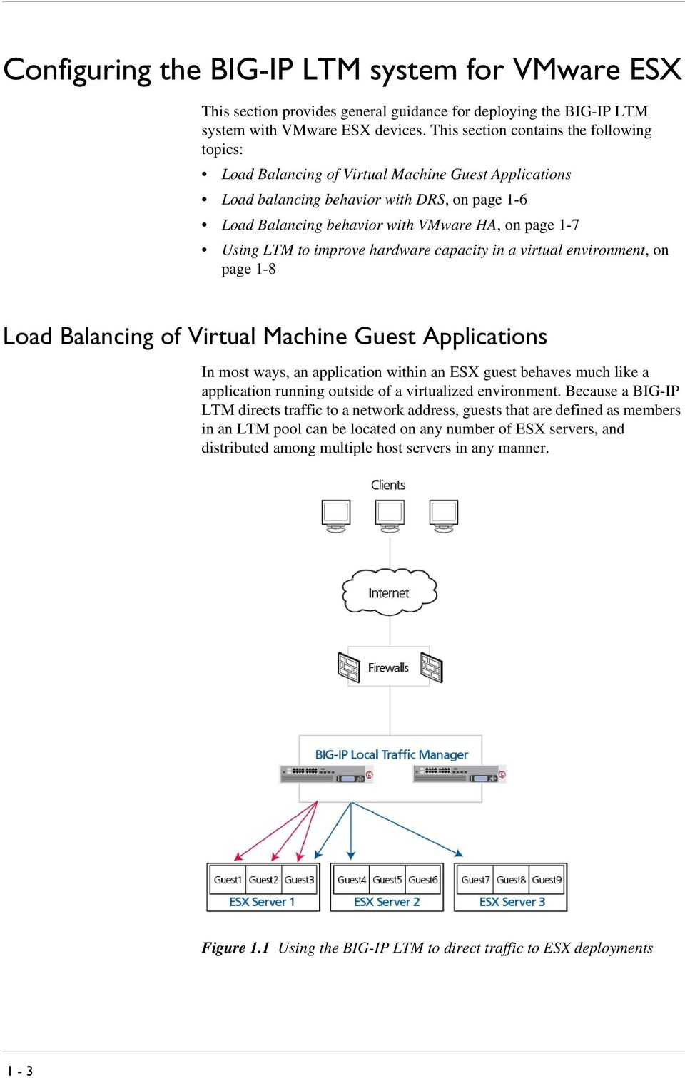 Using LTM to improve hardware capacity in a virtual environment, on page 1-8 Load Balancing of Virtual Machine Guest Applications In most ways, an application within an ESX guest behaves much like a