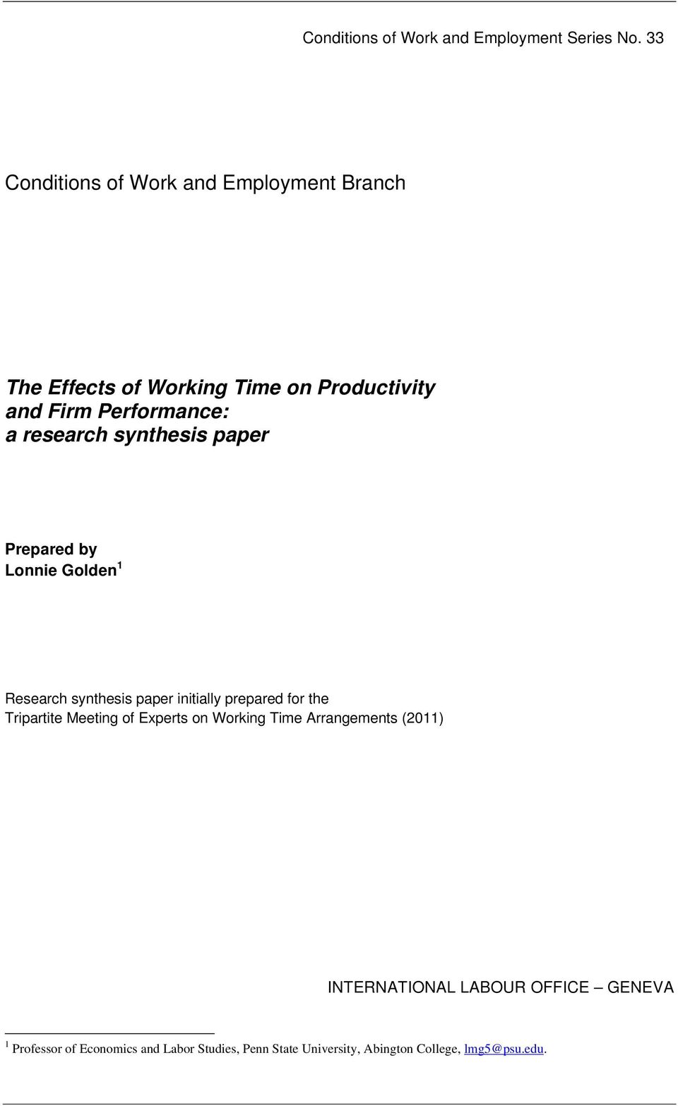 research synthesis paper Prepared by Lonnie Golden 1 Research synthesis paper initially prepared for the Tripartite