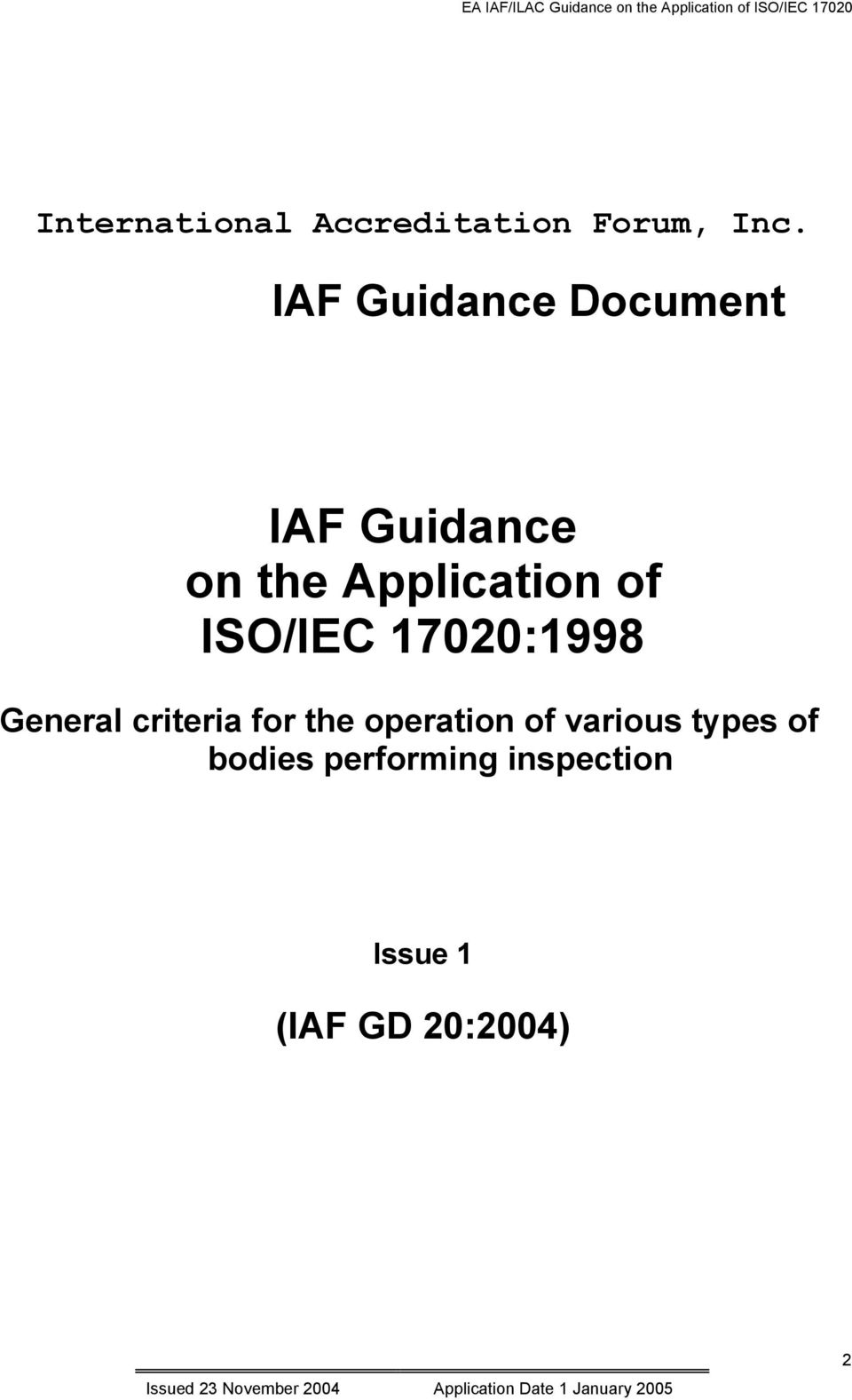 ISO/IEC 17020:1998 General criteria for the operation of