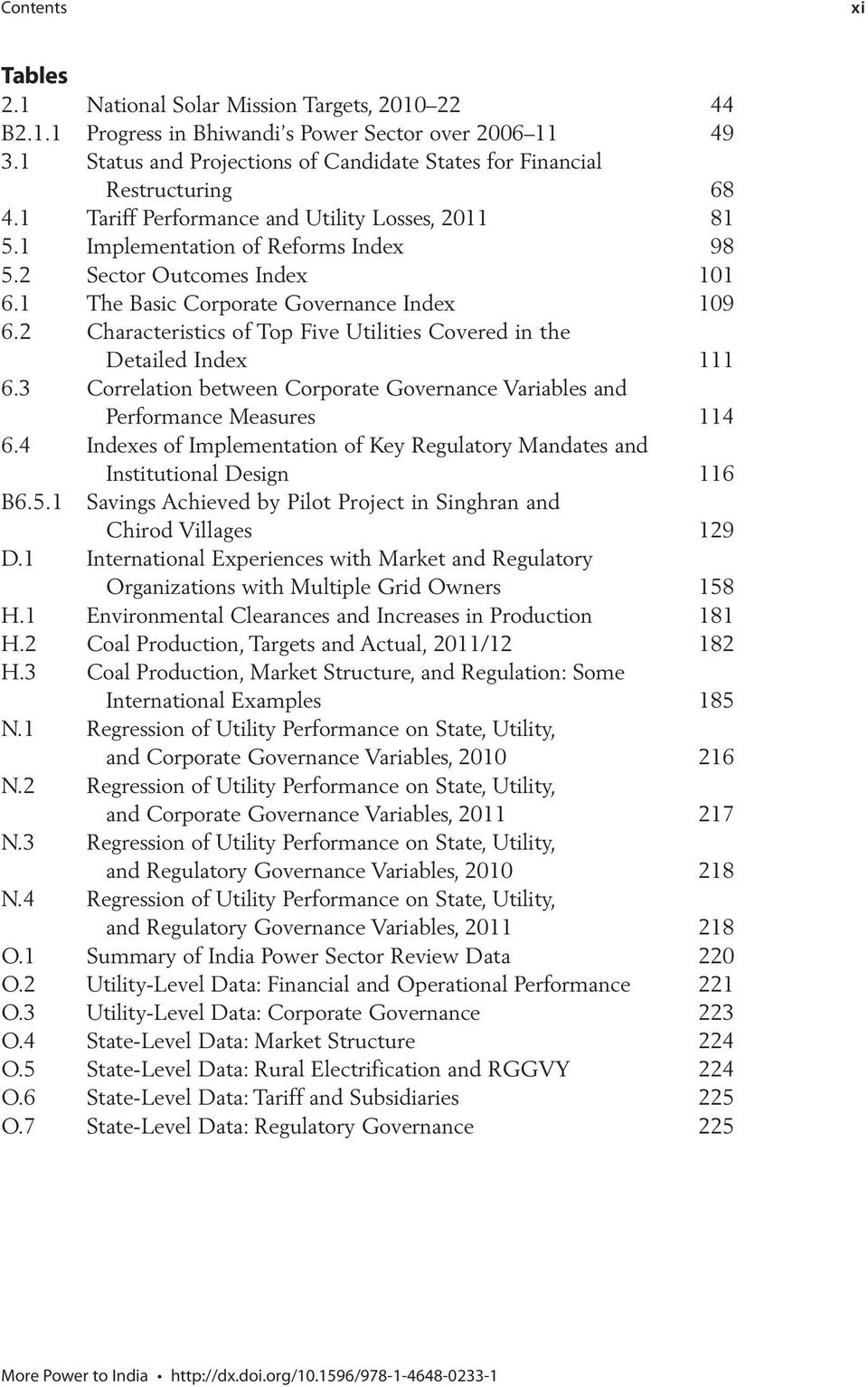 1 The Basic Corporate Governance Index 109 6.2 Characteristics of Top Five Utilities Covered in the Detailed Index 111 6.