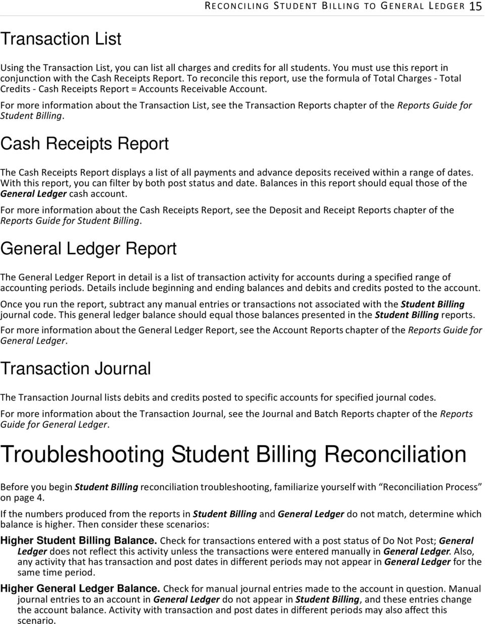 For more information about the Transaction List, see the Transaction Reports chapter of the Reports Guide for Student Billing.