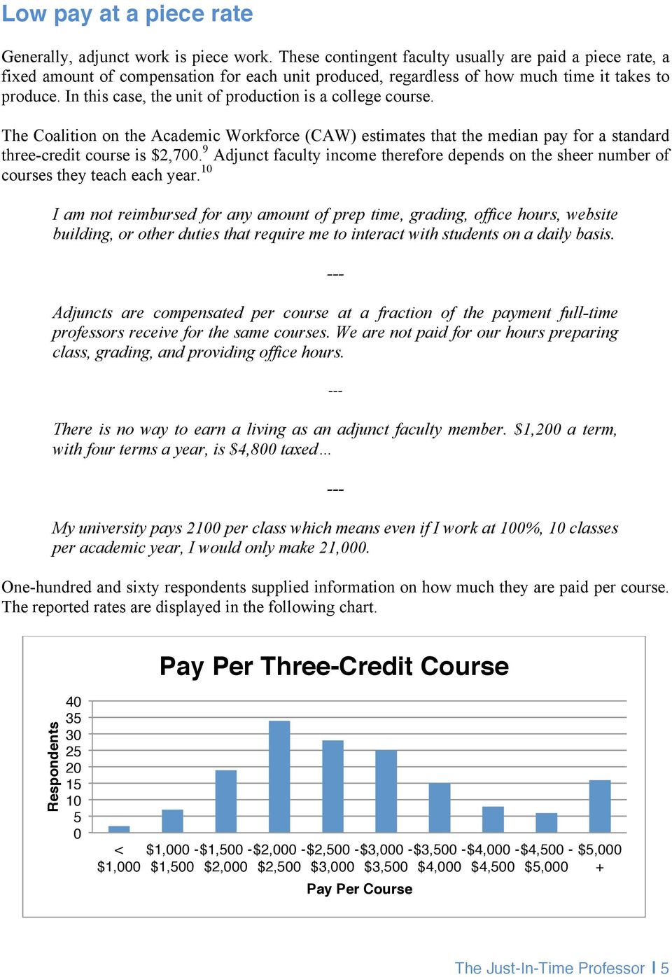 In this case, the unit of production is a college course. The Coalition on the Academic Workforce (CAW) estimates that the median pay for a standard three-credit course is $2,700.