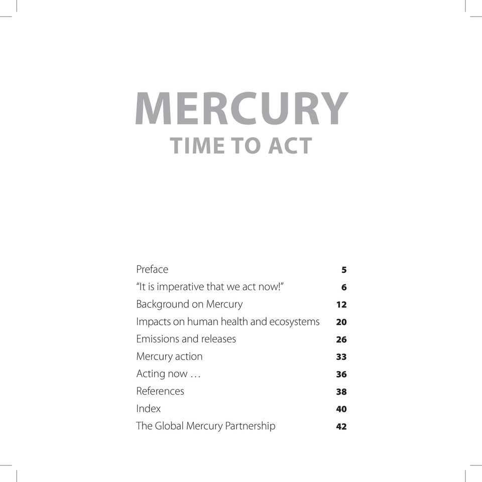 Emissions and releases Mercury action Acting now References