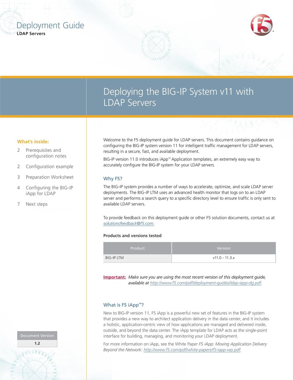 This document contains guidance on configuring the BIG-IP system version 11 for intelligent traffic management for LDAP servers, resulting in a secure, fast, and available deployment.