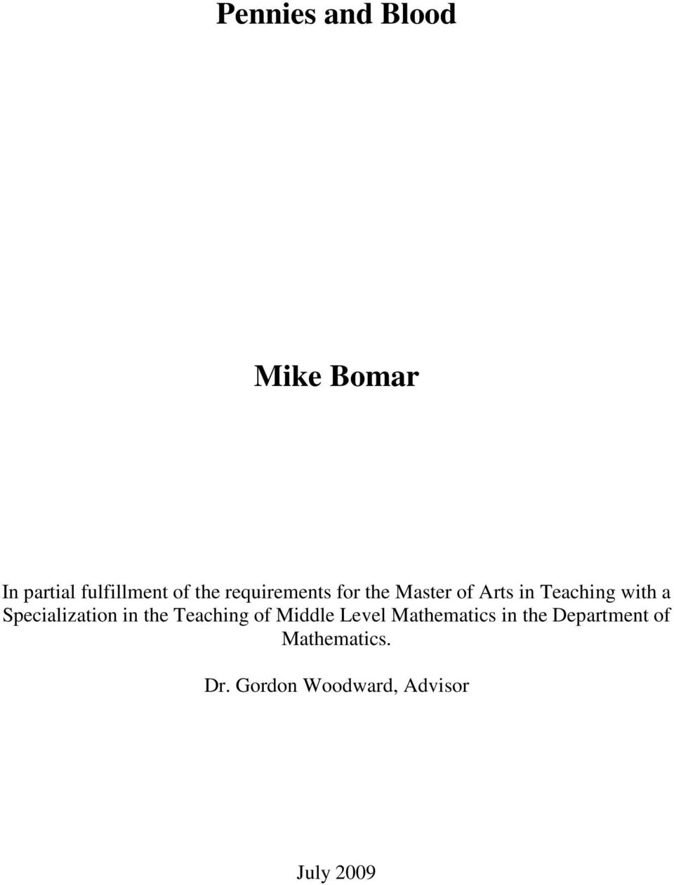 Specialization in the Teaching of Middle Level Mathematics