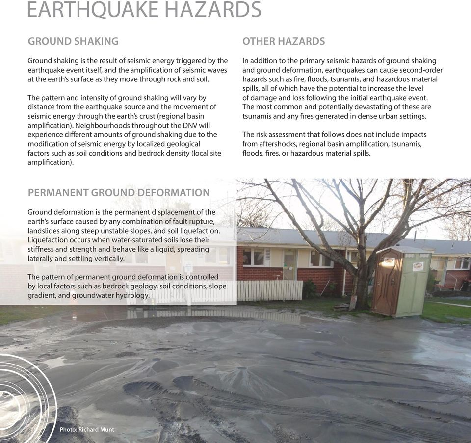 The pattern and intensity of ground shaking will vary by distance from the earthquake source and the movement of seismic energy through the earth s crust (regional basin amplification).