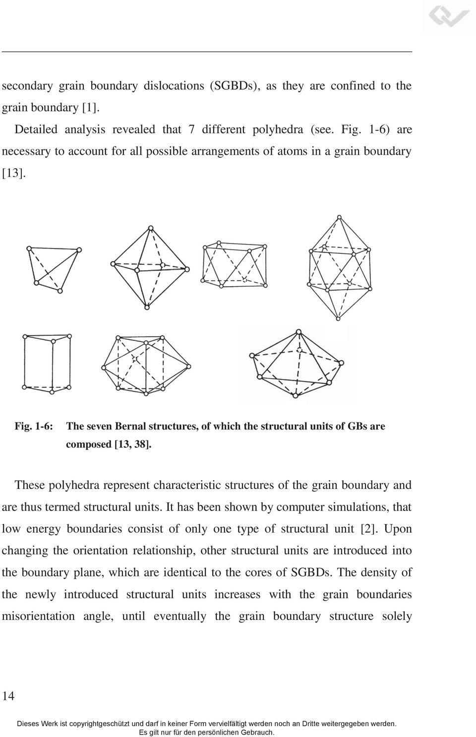 1-6: () () The seven Bernal structures, of which the structural units of GBs are composed [13, 38].