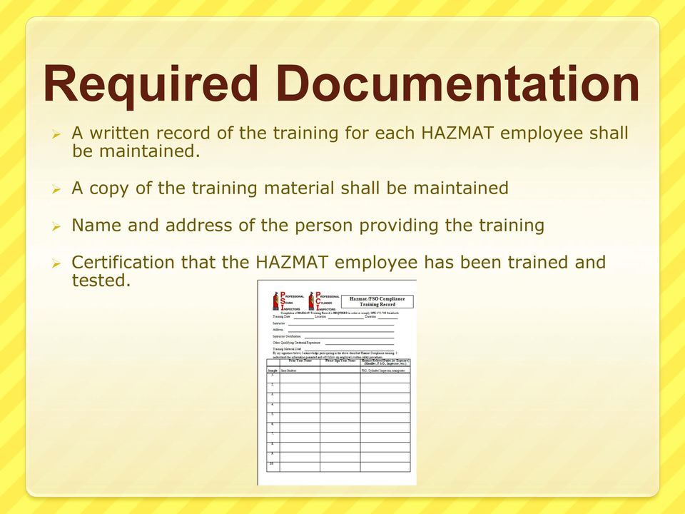 Ø A copy of the training material shall be maintained Ø Name and