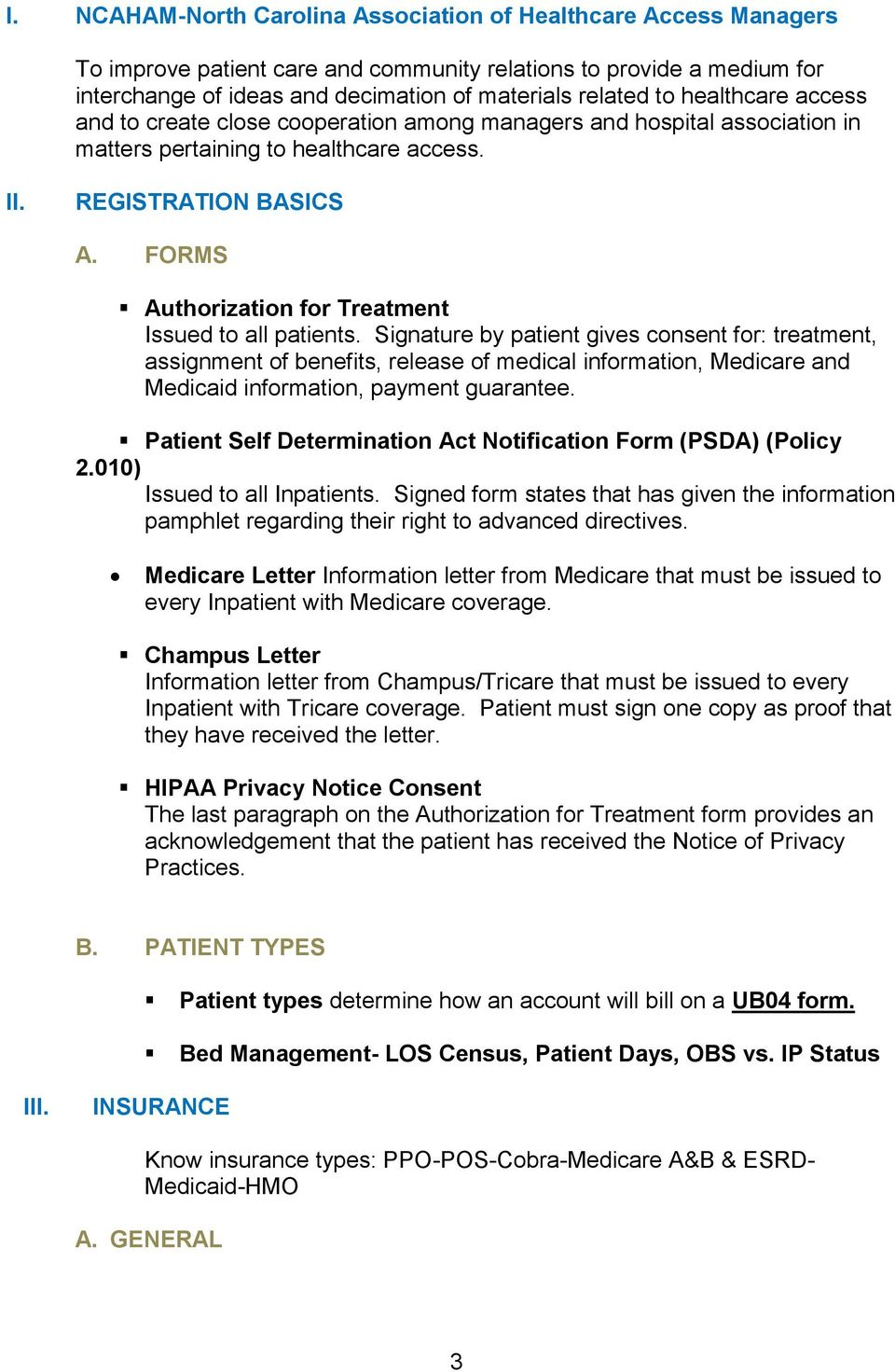 FORMS Authorization for Treatment Issued to all patients.