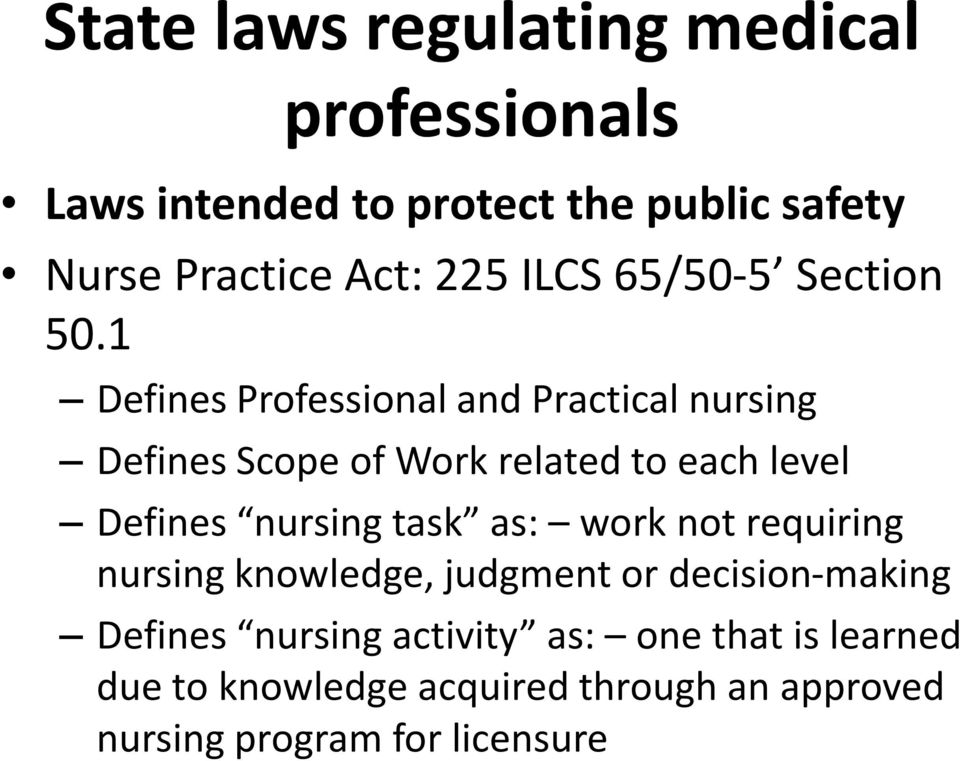 1 Defines Professional and Practical nursing Defines Scope of Work related to each level Defines nursing task