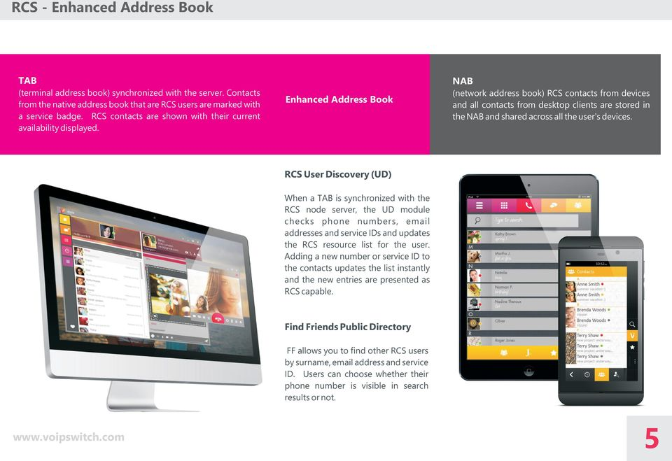 Enhanced Address Book NAB (network address book) RCS contacts from devices and all contacts from desktop clients are stored in the NAB and shared across all the user's devices.
