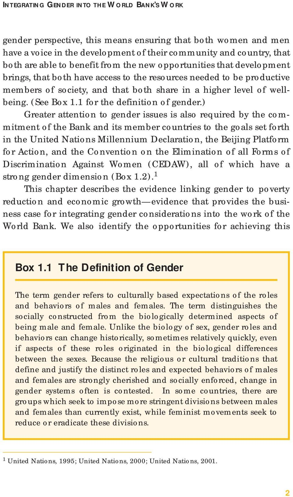 (See Box 1.1 for the definition of gender.