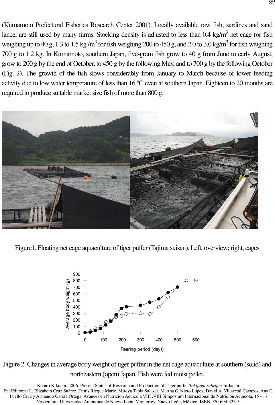 In Kumamoto, southern Japan, five-gram fish grow to 40 g from June to early August, grow to 200 g by the end of October, to 450 g by the following May, and to 700 g by the following October (Fig. 2).